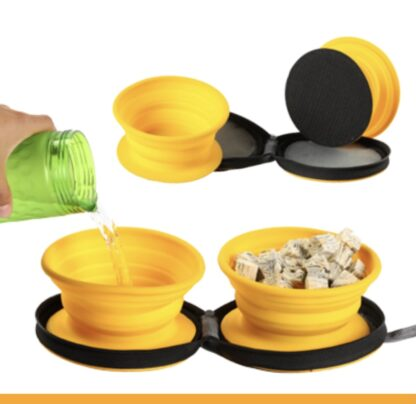 yellow collapsible dog bowl travel chiron equestrian