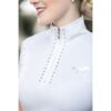 HKM ladies show shirt white diamanté trim zip neck chiron equestrian Lampeter