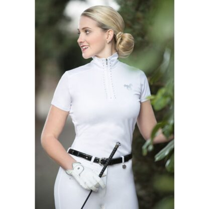 HKM Show shirt ladies white diamanté trim zip neck chiron equestrian Lampeter