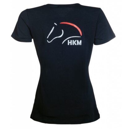 hkm ladies black short sleeve t-shirt red and silver logo chiron equestrian Lampeter