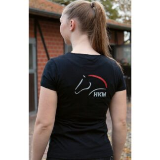 ladies black short sleeve t-shirt red and silver logo chiron equestrian clothing
