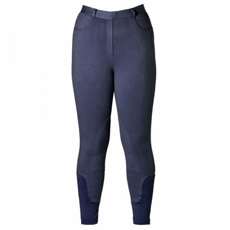 Ladies navy farsley firefoot breeches lycra ankle pull on chiron equestrian Lampeter